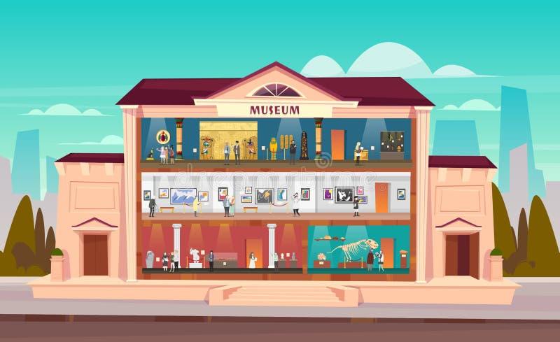 Int?rieur de construction de ville de mus?e avec des salles et des visiteurs illustration libre de droits