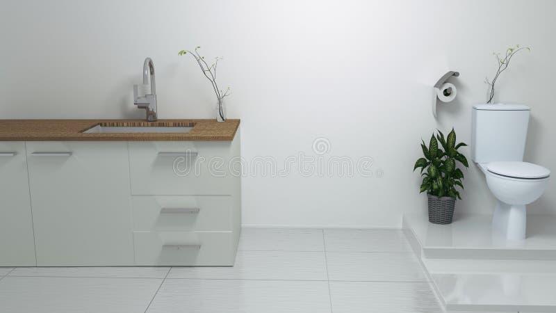 Int?rieur moderne de salle de bains rendu 3d illustration libre de droits