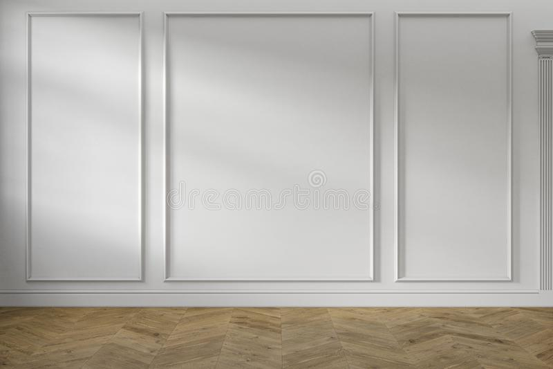 Int?rieur vide blanc classique moderne avec les panneaux de mur et le plancher en bois images stock