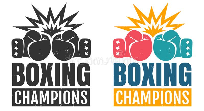 Intage logo for boxing with glove. Vector set vintage logos for a boxing with two gloves. Vintage logo for boxing with glove vector illustration