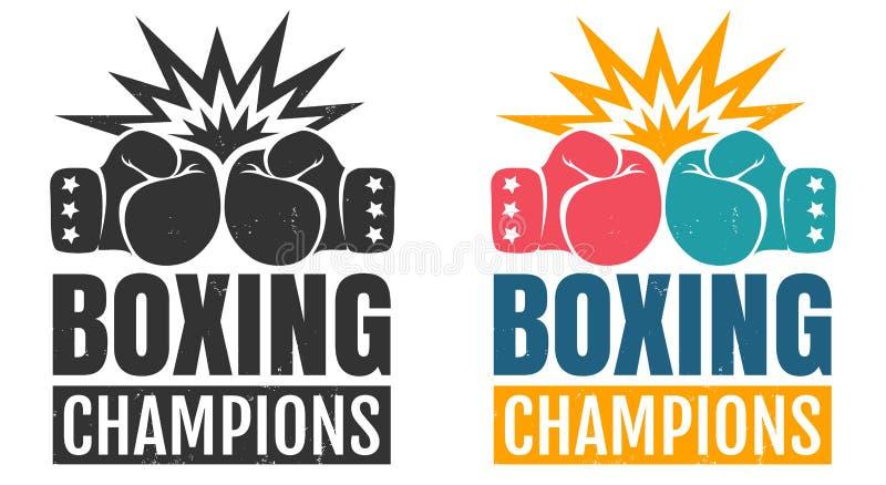 Intage logo för att boxas med handsken vektor illustrationer