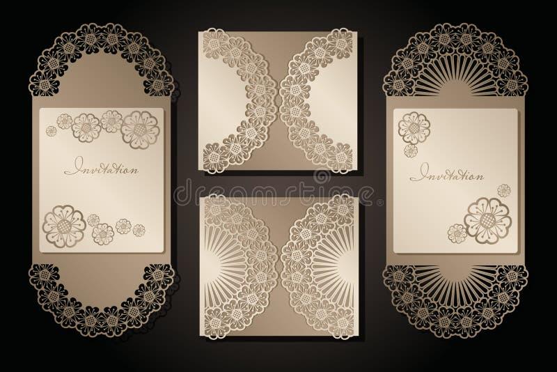 Intage zaproszenie dla laserowego rozcięcia i koperta Openwork pokrywa i karciany projekt dla poślubiać, walentynka dzień, romant royalty ilustracja