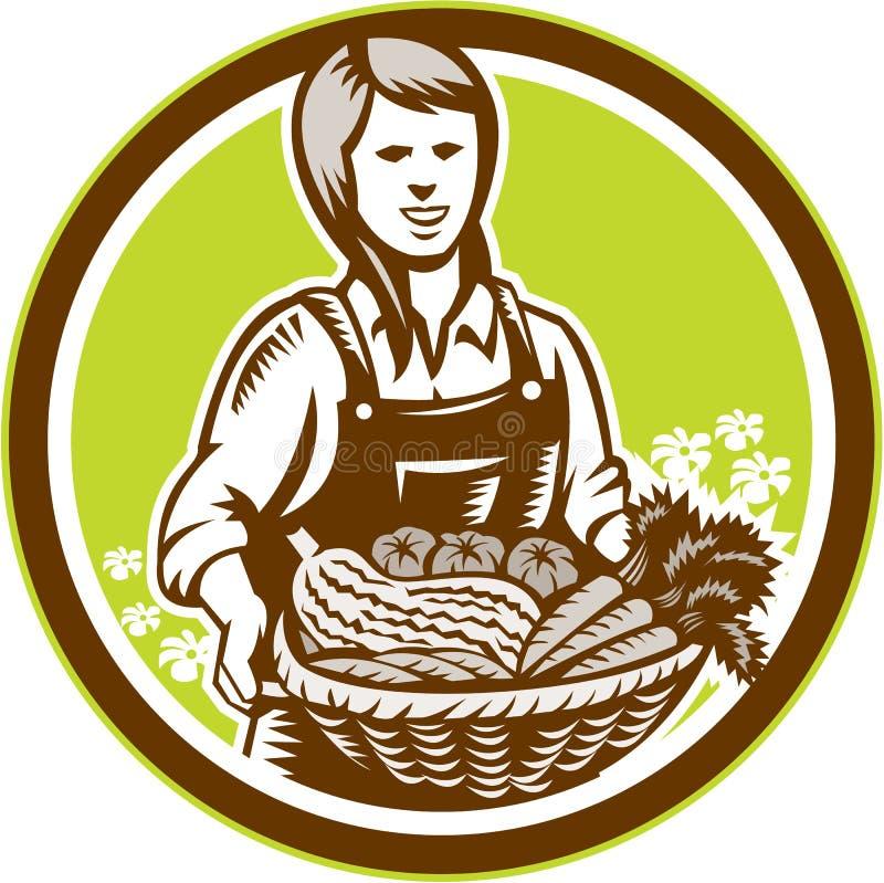 Intaglio in legno femminile organico di Farm Produce Harvest dell'agricoltore illustrazione di stock