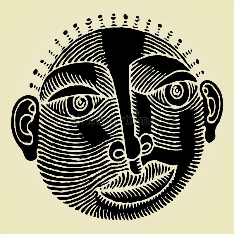 Intaglio in legno originale capo africano royalty illustrazione gratis