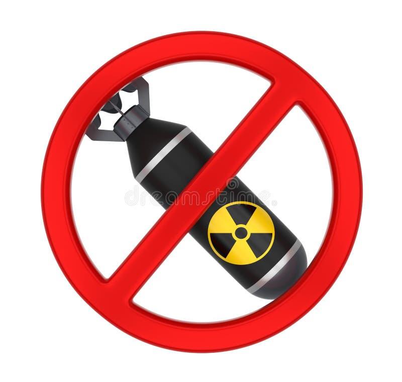 Inte kärn- bombardera det isolerade tecknet stock illustrationer