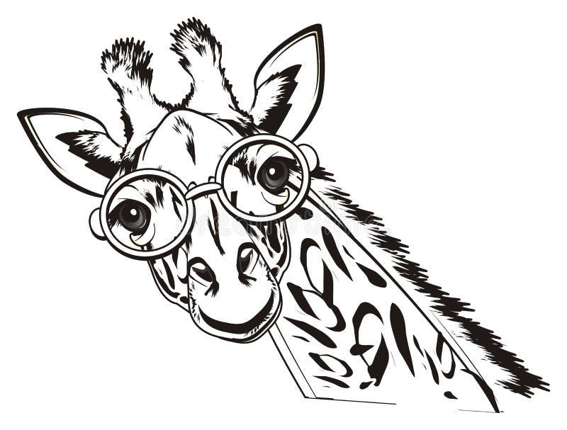 Inte kulör giraff i exponeringsglas stock illustrationer