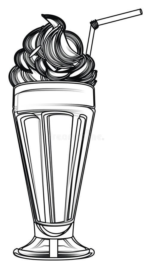 Inte kulör milkshake stock illustrationer