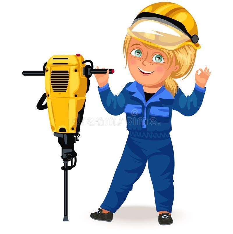 Inte kvinnliga yrken, stark kvinnabyggmästare i likformig med drillborrskruvmejsel i hans armar, arbetande flicka hårt stock illustrationer
