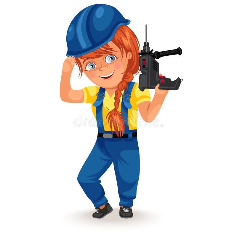 Inte kvinnliga yrken, stark kvinnabyggmästare i likformig med drillborrskruvmejsel i hans armar, arbetande flicka hårt royaltyfri illustrationer