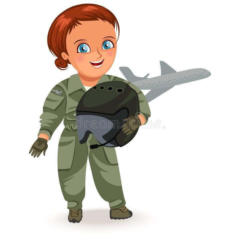 Inte kvinnliga yrken, stark kvinnapilot i likformig med den militära hjälmen i hans armar, hård funktionsduglig flicka, feministe royaltyfri illustrationer
