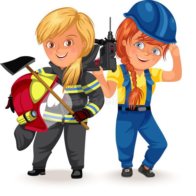 Inte kvinnliga yrken, tunga yrkebyggmästare konstruktör, arbetare för stark kvinna i likformig med hjälmyxa hans armar vektor illustrationer