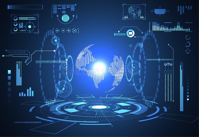 Inte numérique de hud de technologie d'ui du monde futuriste abstrait de concept illustration de vecteur