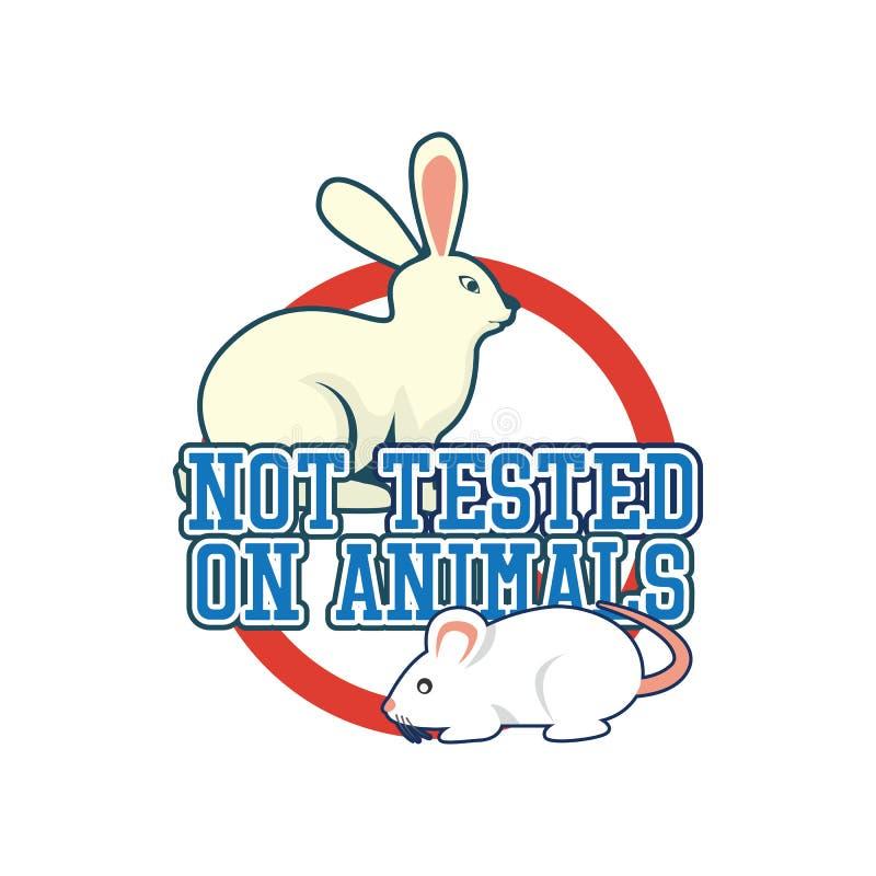 Inte testat på djur, grymhet fritt, ingen logo för djur provning för doktor eller klinik vektor illustrationer