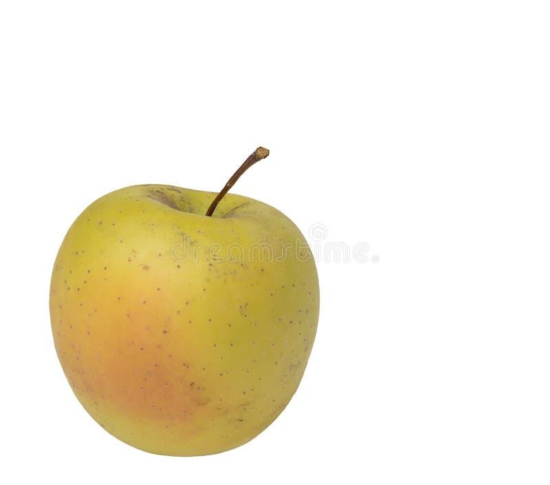 Inte tvättade det gröna äpplet med den röda sidan på vit bakgrund royaltyfria foton