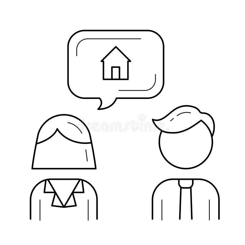 Inteckna mäklarelinjen symbol stock illustrationer