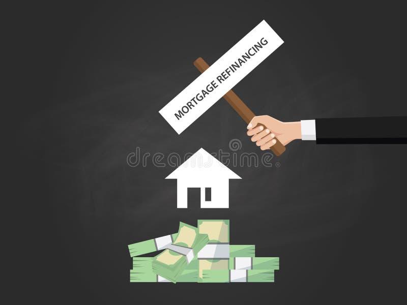 Inteckna refinancingtext på ett bräde nära med högen av pengar, den vita huskonturn och svärta bakgrund vektor illustrationer