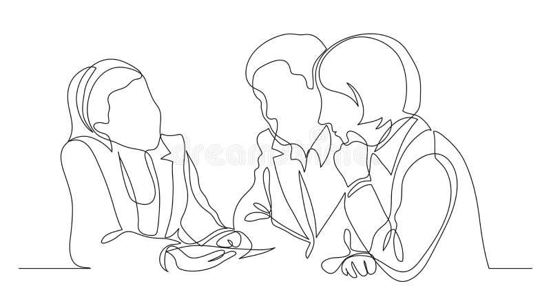 Inteckna tjänstemannen som diskuterar detaljer av bostadslånet med mannen och kvinnan - en linje teckning royaltyfri illustrationer