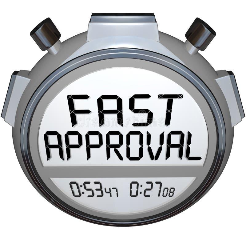 Intecknar det godkända lånet för den snabba tidmätaren för godkännandeordstoppuren Credi vektor illustrationer