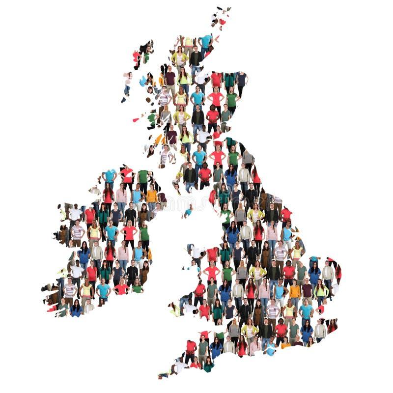 Integ multicultural del grupo de personas Irlanda del mapa BRITÁNICO de Gran Bretaña foto de archivo libre de regalías