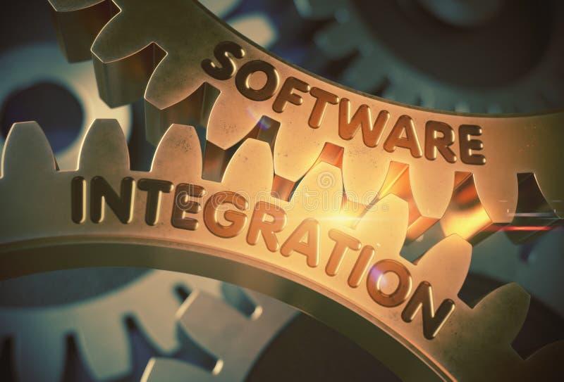 Integração de software nas engrenagens douradas ilustra??o 3D ilustração stock