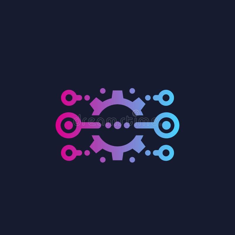 Integración, optimización, icono con la rueda dentada stock de ilustración
