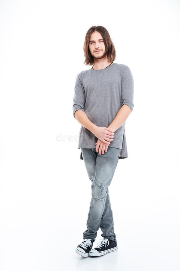 Integral de hombre joven hermoso con el pelo largo foto de archivo