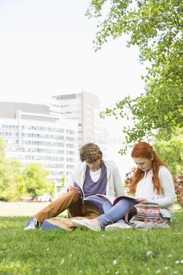 Integral de los amigos masculinos y femeninos jovenes que estudian en el campus de la universidad foto de archivo libre de regalías