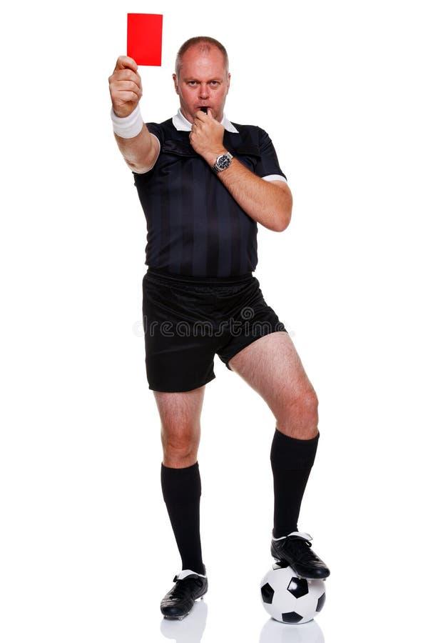 Integral del árbitro del balompié aislado en blanco imagenes de archivo