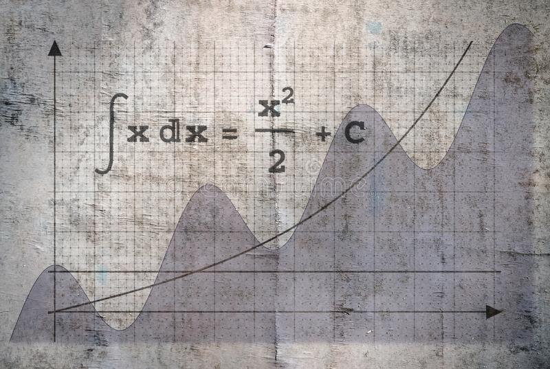 Integral of a function. Example of an indefinite integral of a function on vintage background stock photo