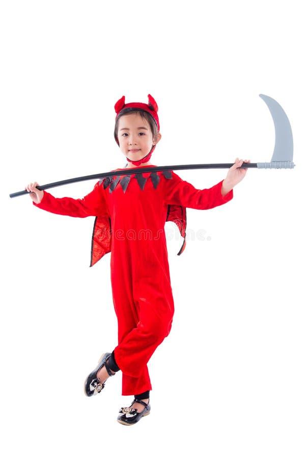 Integrale della bambina che sta in costume diabolico rosso fotografie stock