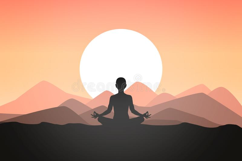 Integrate with nature for inner peace. Leave all the stress of life aside and find peace stock illustration