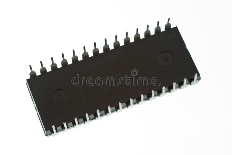Integrated Circuit IC. Integrated cicuit in black isolated on white stock photos