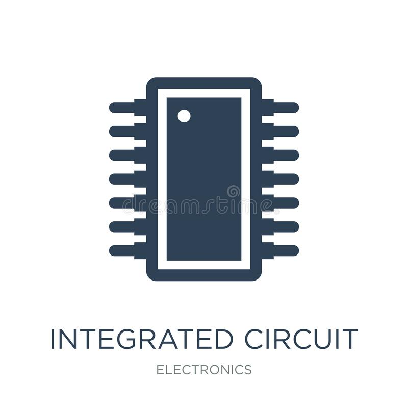 Integrated circuit icon in trendy design style. integrated circuit icon isolated on white background. integrated circuit vector. Icon simple and modern flat stock illustration
