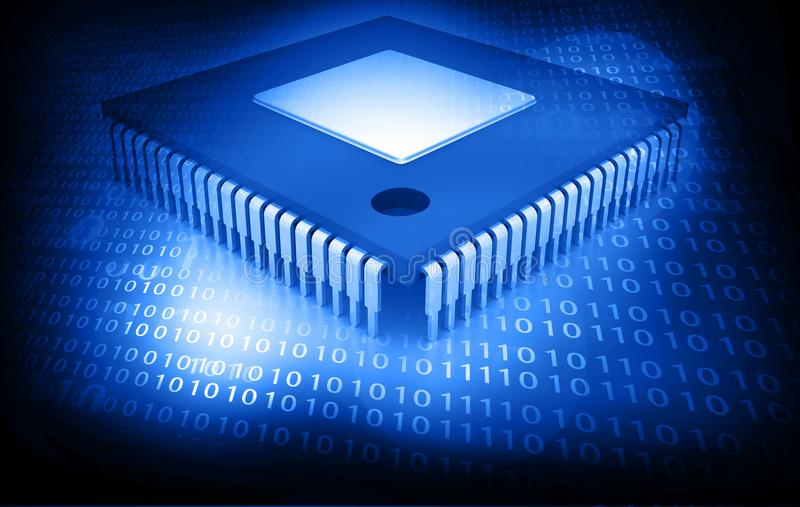 Integrated Circuit. On binary background, IC chip vector illustration