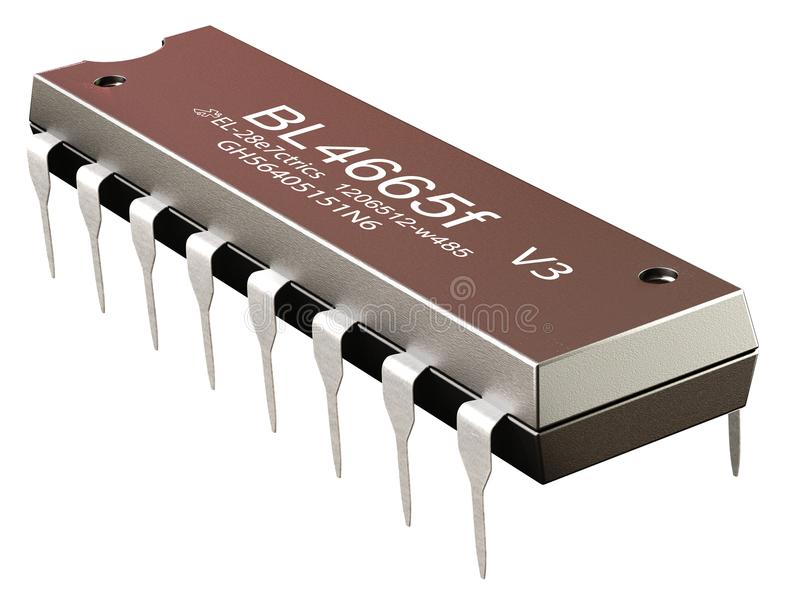 Integrated circuit or micro chip and new technologies on isolated. Computer part sapplication-specific, ASIC, CMOS of llinear voltage regulators. 3d rendering vector illustration