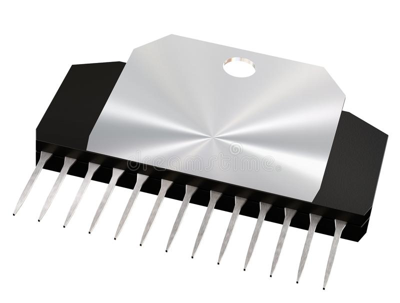 Integrated circuit or micro chip and new technologies on isolated. Integrated circuit or micro chip on isolated. Computer parts artificial intelligence vector illustration