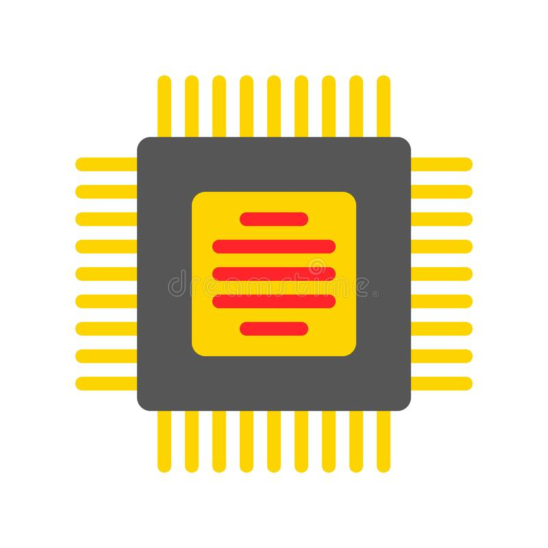 Integrated circuit vector, Electronic device flat style icon royalty free illustration