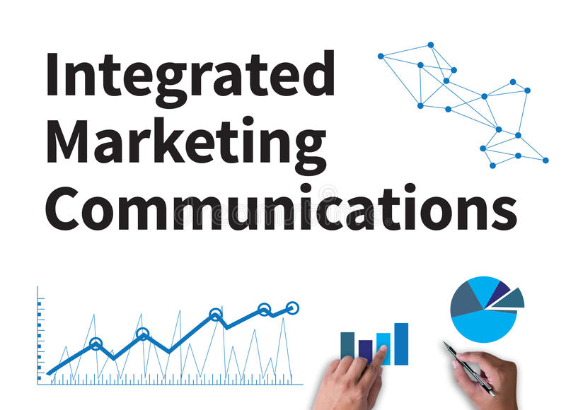 Integrated marketing communications (IMC). Businessman work on white broad, top view stock image