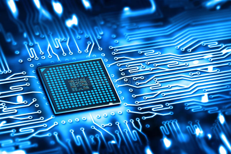 Integrated microchip. Abstract microchip integrated on motherboard