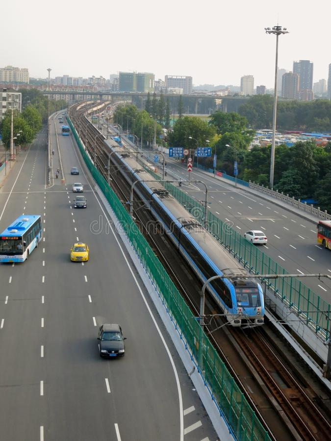 Integrated Transportation System: Highway With Train Line in the Center royalty free stock images