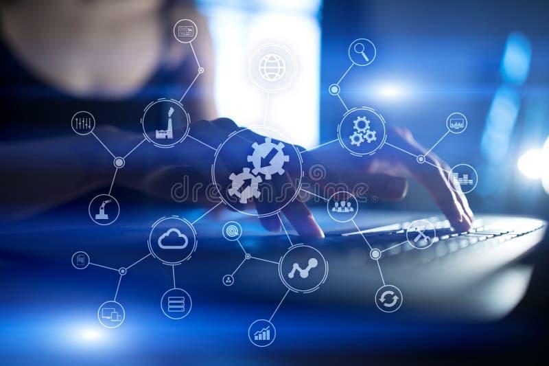 Integratieconcept Industriële en slimme technologie Bedrijfs en automatiseringsoplossingen vector illustratie