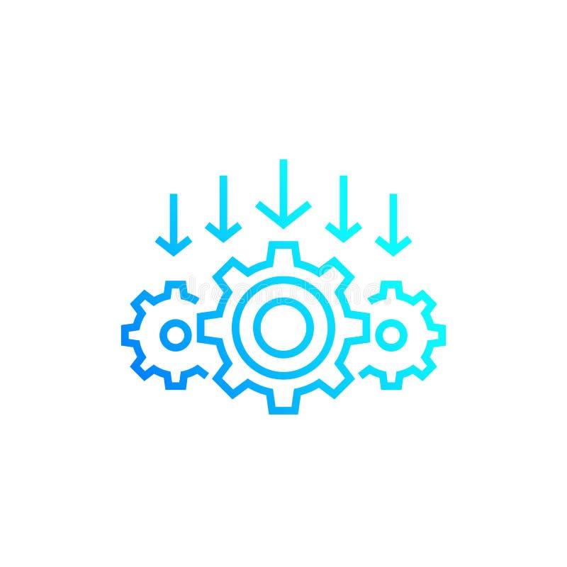 Integratieproces, pictogram van de technologie het vectorlijn vector illustratie