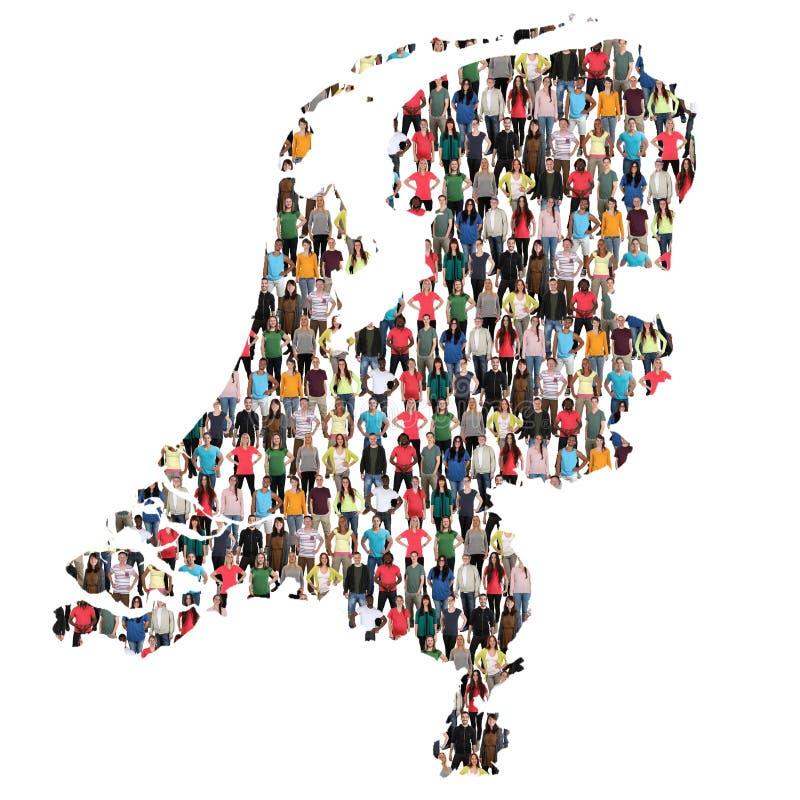 Integratio multicultural del grupo de personas del mapa holandés de Holanda imágenes de archivo libres de regalías