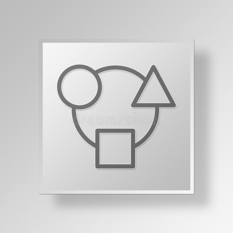 Integration 3D Knopf-Ikonen-Konzept vektor abbildung