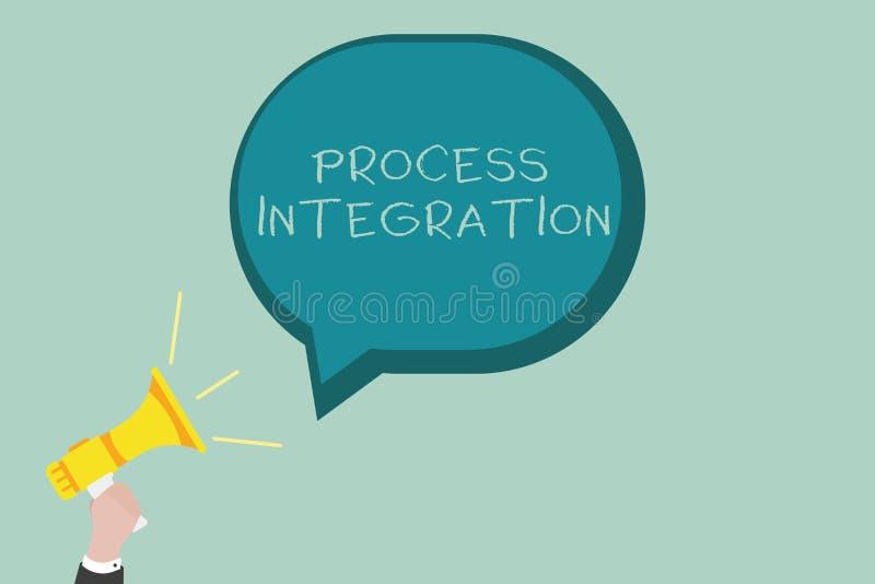 Integration för process för ordhandstiltext Affärsidé för uppkopplingsmöjlighet av service och information om system vektor illustrationer