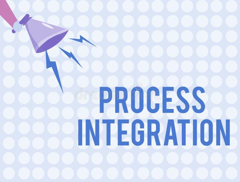 Integration för process för ordhandstiltext Affärsidé för uppkopplingsmöjlighet av service och information om system royaltyfri illustrationer
