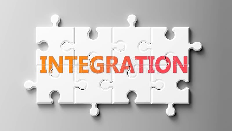 Integration komplex wie ein Puzzle - als Wortintegration in einem Puzzle dargestellt, um zu zeigen, dass Integration schwierig se lizenzfreie abbildung
