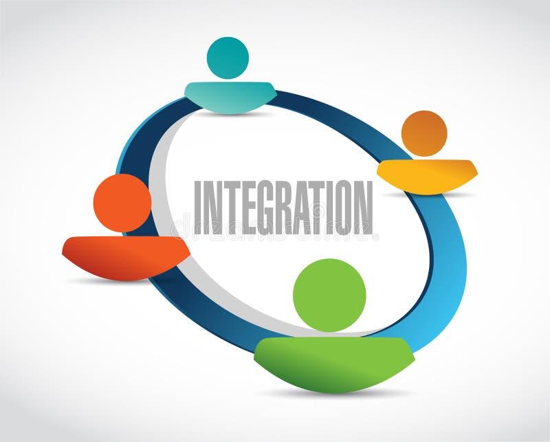 integration people cycle sign illustration stock illustration