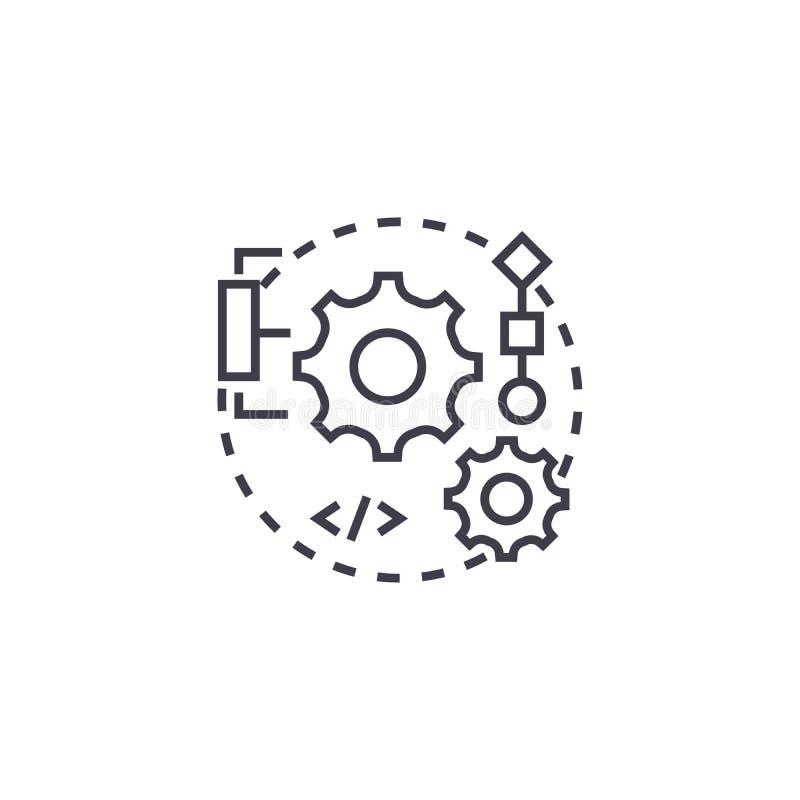Integrationsvektorlinie Ikone, Zeichen, Illustration auf Hintergrund, editable Anschläge stock abbildung