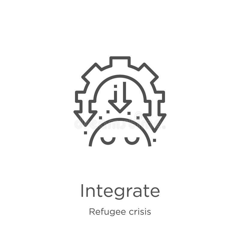 integre el vector del icono de la colección de la crisis del refugiado La línea fina integra el ejemplo del vector del icono del  stock de ilustración